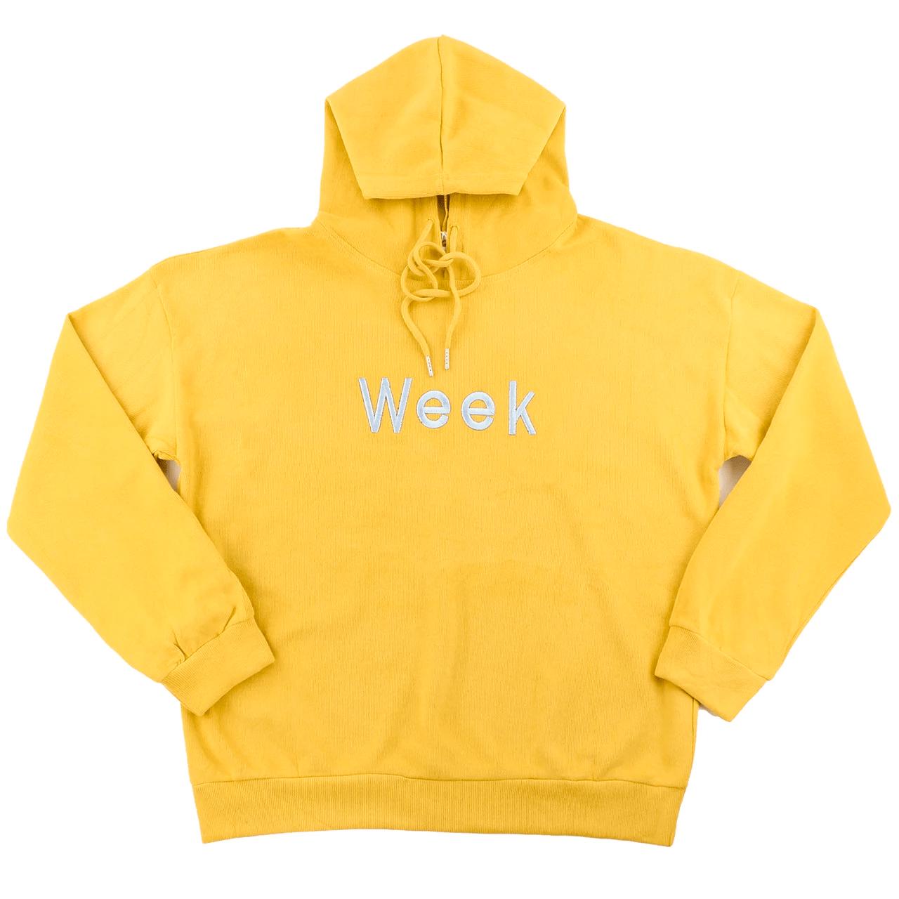 Жіночі худі з капюшоном жовті однотонні осінні жіночі худі з вишивкою Week