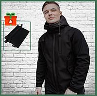Куртка мужская черная с капюшоном Soft Shell Easy, молодежная куртка стильная демисезонная + подарок