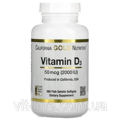 California Gold Nutrition, вітамін D3 2000 МО 360 капсул, фото 2