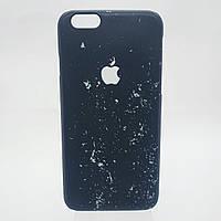 Черный пластиковый чехол на Айфон 6  для iPhone 6 черный с белым, черно-белый