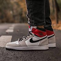 Мужские кроссовки Air Jordan Retro 1 White \Grey\Red найк аир джордан реплика