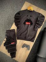 Мужской трикотажный спортивный костюм Supreme Panda черный (Модный спортивный костюм Суприм приталенный)