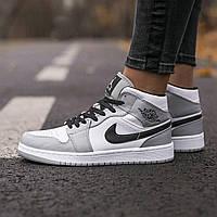 Мужские кроссовки Air Jordan Retro 1 White\Grey найк аир джордан 1 реплика