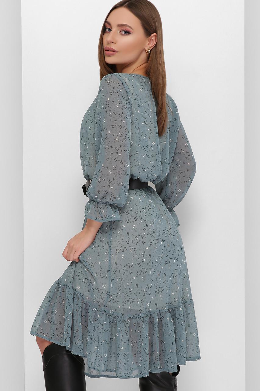 Платье летнее 1885 шифоновое ,  волна и сливовый