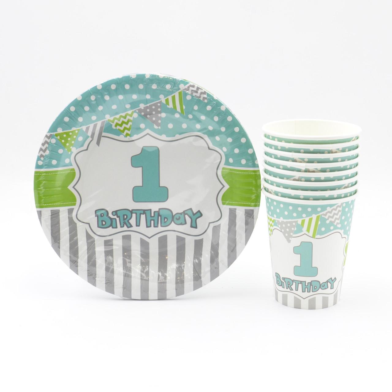 "Набор посуды  ""1-st Birthday голубой"""