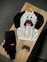 Мужской трикотажный спортивный костюм Supreme Panda черно-серый (Модный спортивный костюм Суприм приталенный)