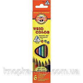 Карандаши цветные KOH-I-NOOR TRIOCOLOR, 6 цветов, картонная упаковка, трехгранная эргономичная форма корпуса.
