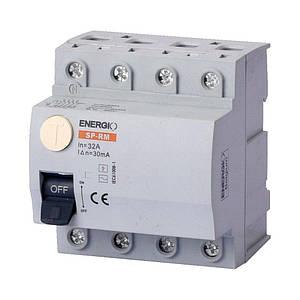 Пристрій захисного відключення ENERGIO SP-RM 4P 32А 30мА тип AC Електромеханічний