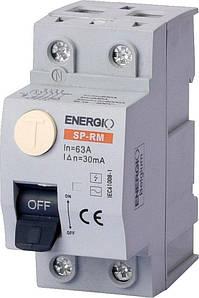 Пристрій захисного відключення ENERGIO SP-RM 2P 63А 30мА тип AC Електромеханічний