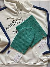 Демисезонный детский вязаный набор шапка и снуд для мальчика и девочки ручной работы весна осень.