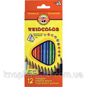 Карандаши цветные KOH-I-NOOR TRIOCOLOR, 12 цветов, картонная упаковка, трехгранная эргономичная форма корпуса.