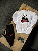 Мужской трикотажный спортивный костюм Supreme Panda черно-белый (Модный спортивный костюм Суприм приталенный)