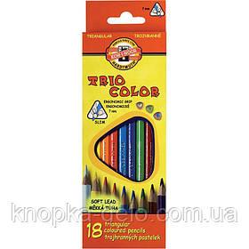 Карандаши цветные KOH-I-NOOR TRIOCOLOR, 18 цветов, картонная упаковка, трехгранная эргономичная форма корпуса.