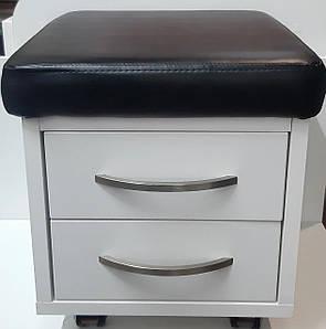 Пуф для мастера педикюра с 2 ящичками спа тележка -пуф педикюрный передвижной низкий стульчик