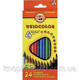 Карандаши цветные KOH-I-NOOR TRIOCOLOR, 24 цвета, картонная упаковка, трехгранная эргономичная форма корпуса.