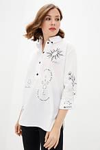 Женская рубашка из хлопка с вышивкой