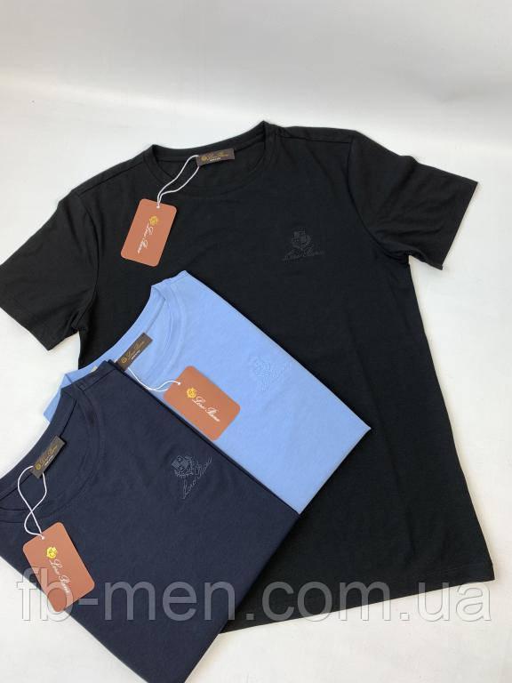Брендовая Футболка Loro Piana черная| Мужская черная классическая футболка Лоро Пиана|Майка Loro Piana хлопок