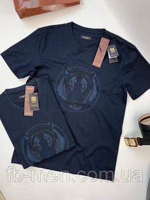 Темно-синяя мужская футболка Stefano Ricci лев | Майка синяя Стефано Риччи | Брендовая футболка Stefano Ricci