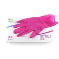 Перчатки нитриловые розовые Polix S (100 шт/уп)