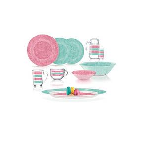 Столовый сервиз Luminarc AMB Stony Pink&Turquoise 46 пр Q4730