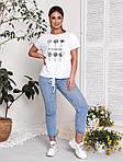 Женская футболка, хлопок, р-р универсальный 48-54 (белый), фото 3