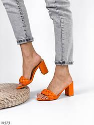 37 размер 23,5см Женские оранжевые шлепки эко-кожа на каблуке