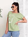 Жіноча футболка, бавовна, р-р універсальний 48-54 (оливковий), фото 2