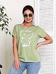 Жіноча футболка, бавовна, р-р універсальний 48-54 (оливковий), фото 3