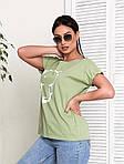Жіноча футболка, бавовна, р-р універсальний 48-54 (оливковий), фото 4