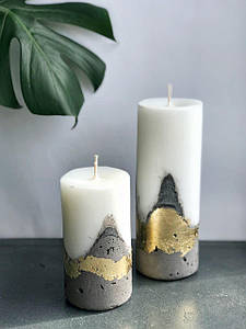 Две свечи с бетонным основанием /Белая высокая свеча /Декор для дома ,офиса