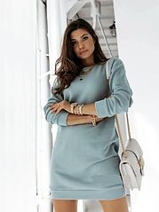 Сукня туніка жіноче тепле на флісі стильне модне сірий, мокко, пудра, фісташка 42-44, 44-46