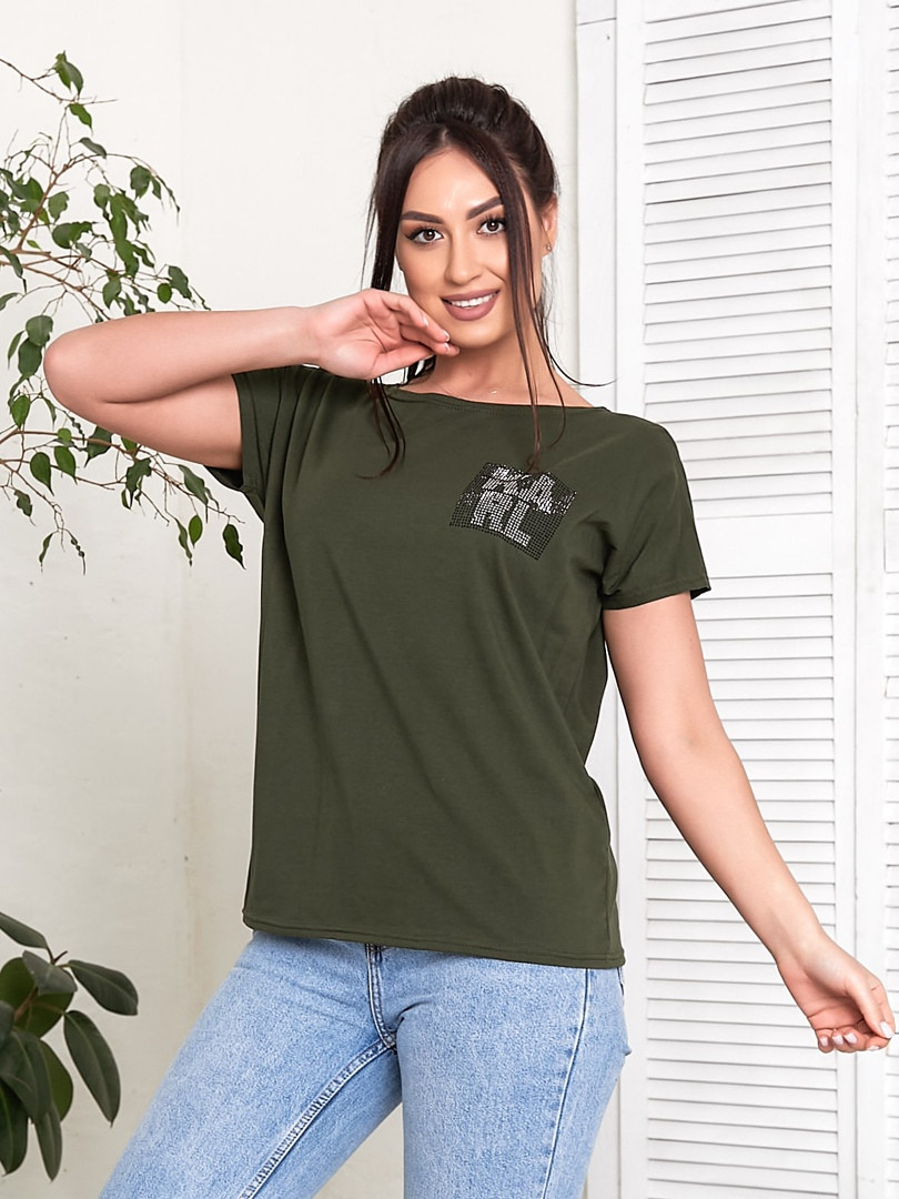 Жіноча футболка, бавовна, р-р універсальний 48-54 (хакі)