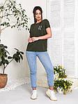 Жіноча футболка, бавовна, р-р універсальний 48-54 (хакі), фото 2