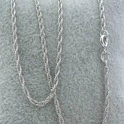 Серебряная цепочка родированная Верёвочка ширина 2 мм  длина 45