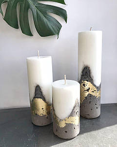 Набор из трех свечей с бетонным основанием /Белая высокая свеча /Декор для дома ,офиса