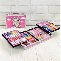 Детский развивающий набор для творчества в розовом чемоданчике