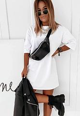 Платье женское оверсайз однотонное короткое стильное. Повседневное летнее платье (чёрный, белый, бежевый)