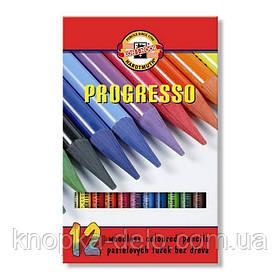 Цветные бездревесные художественные карандаши PROGRESSO, 12 цветов. Картонная упаковка с пластиковым поддоном.