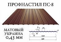ОПТ - Профнастил для забора ПС-8 (Украина), мат, 0,43 мм (RAL 3005,6005,6020,7024,8017,8019), фото 1