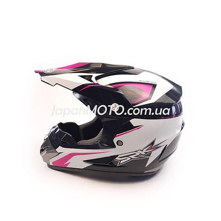 Шлем кроссовый FOX (size: XL, 125) черно-белый, фото 2
