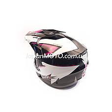 Шлем кроссовый FOX (size: XL, 125) черно-белый, фото 3