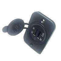 Гнездо USB двойное врезное 1А/2,1А с индикатором и крышкой YY-19-CN128