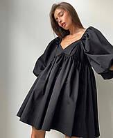 Платье женское стильное с объемными рукавами