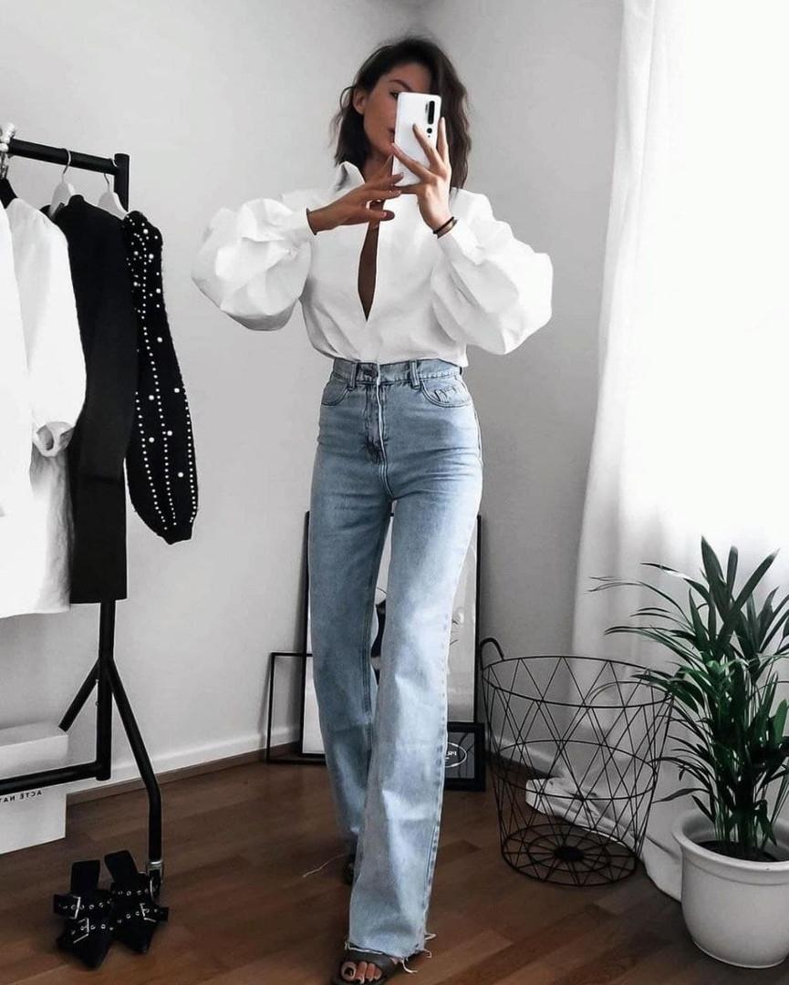 Женская рубашка, коттон, р-р универсальный 42-46; 48-52 (белый)