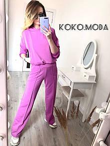 Перис женский оверсайз костюм брючный спортивный худи с капюшоном брюки клеш лиловый