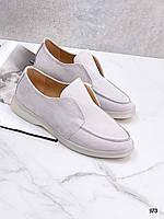 Жіночі туфлі лофери з натурального замша 36,40 р ліловий, фото 1