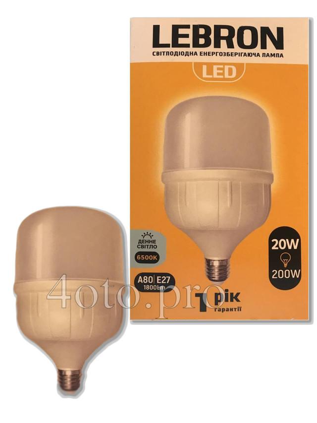 LED лампа LEBRON L-А80, 20W, Е27, 6500K