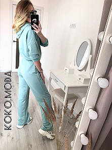 Перис женский оверсайз костюм брючный спортивный худи с капюшоном брюки клеш фисташковый