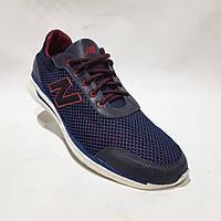 Летние мужские кроссовки (Больших размеров) в стиле New Balance Кожа+сетка темно синие 46,47,48,49,50