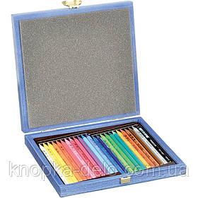 Карандаши цветные бездр 8758 . PROGRESSO, 24 цвета в деревнной подарочной коробке